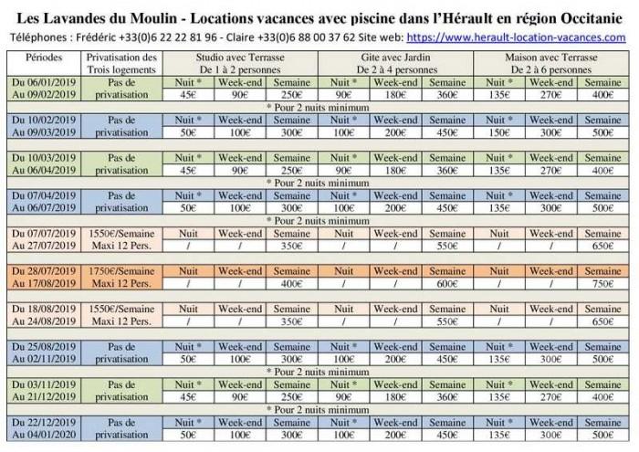 tarifs des locations